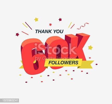 istock Thank you 60k social media followers, modern flat banner 1320953241