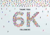 istock Thank you, 6k or six thousand followers celebration design. Large group of people form to create a shape 6k. Vector illustration. 1277752664
