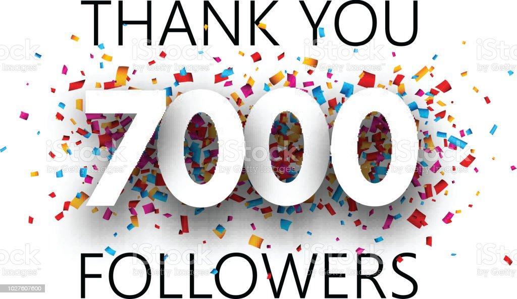 ありがとう7000 信者カラフルな紙吹雪とポスター thank youのベクター