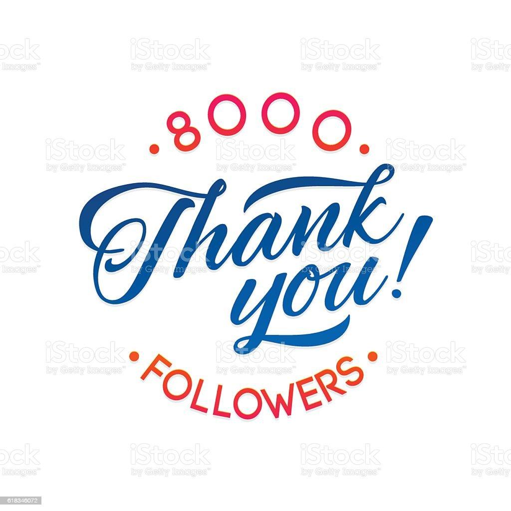 Ilustración De Thank You 8000 Followers Card Vector Thanks Design