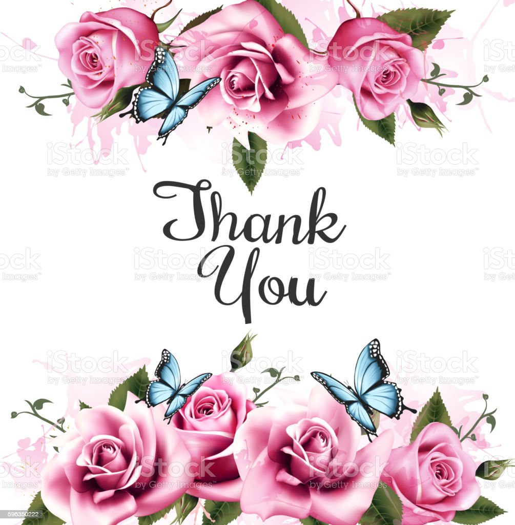 Thank You background with beautiful roses and butterflies. Vecto royalty-free thank you background with beautiful roses and butterflies vecto stock vector art & more images of abstract