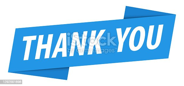 istock Thank you - Banner, Speech Bubble, Label, Ribbon Template. Vector Stock Illustration 1292561898