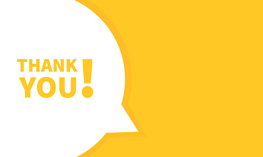 Thank you banner. Vector on isolated white background. EPS 10.