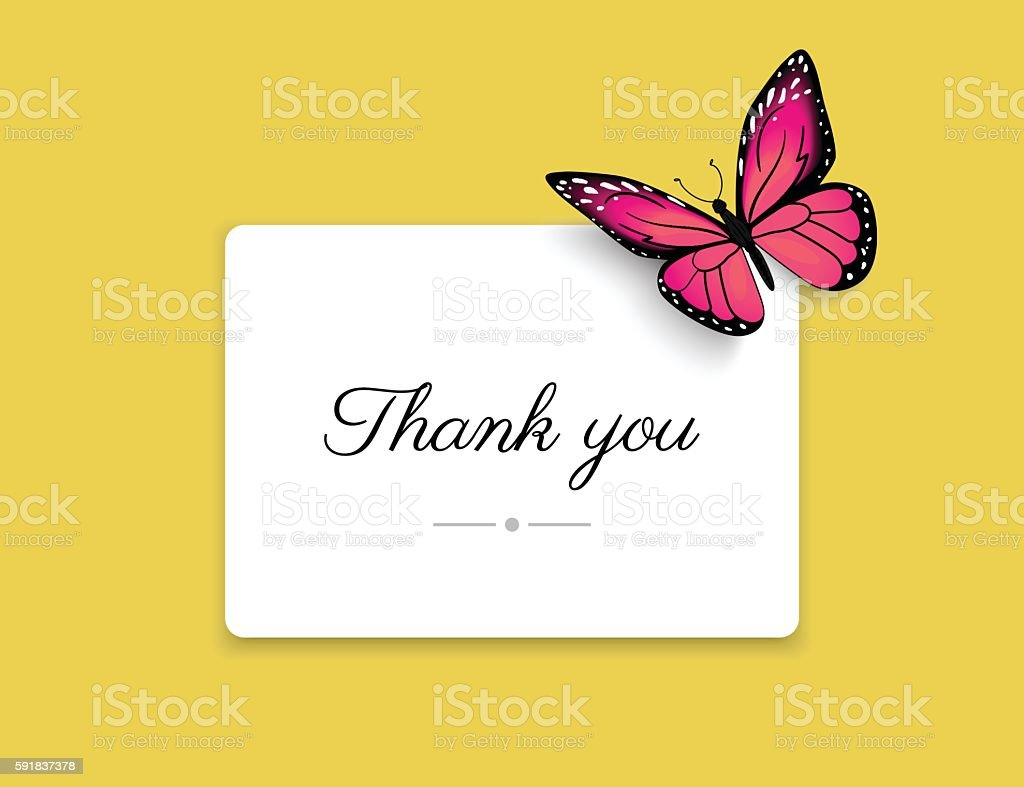Thank You Blank Card With Beautiful Red Butterfly On Yellow Stock ...