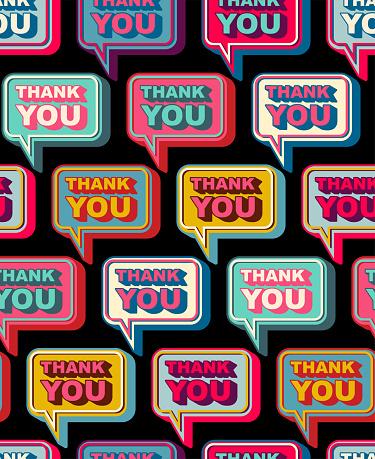 Thank you bubble pattern seamless. Gratitude speech background. vector texture
