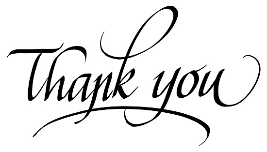 Thank You! Calligraphic Inscription. Calligraphic Lettering Design Template. Creative Typography for Greeting Card, Gift Poster, Banner etc.