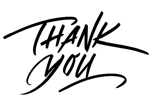 Thank You Calligraphic Inscription. Calligraphic Lettering Design Template. Creative Typography for Greeting Card, Gift Poster, Banner etc.