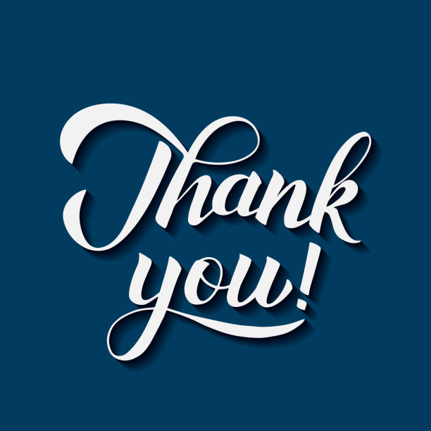 thank you calligraphy hand lettering on blue background. vector illustration. easy to edit template for wedding thank you cards, tags, banners, posters, labels, clothes, etc. - thank you stock illustrations