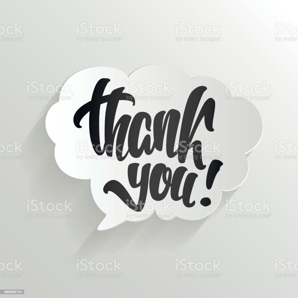 Danke Kalligraphie Hand Schriftzug auf Cloud-Vektor-Illustration. – Vektorgrafik