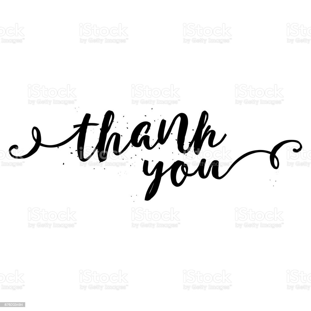 Thank you calligraphy sign brush painted letters