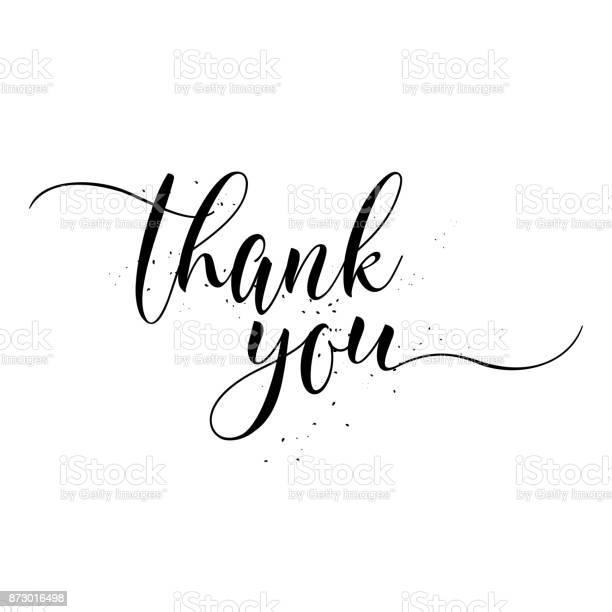 Thank You Calligraphy Sign Brush Painted Letters Gratitude Vector Illustration — стоковая векторная графика и другие изображения на тему Thank You - английское словосочетание