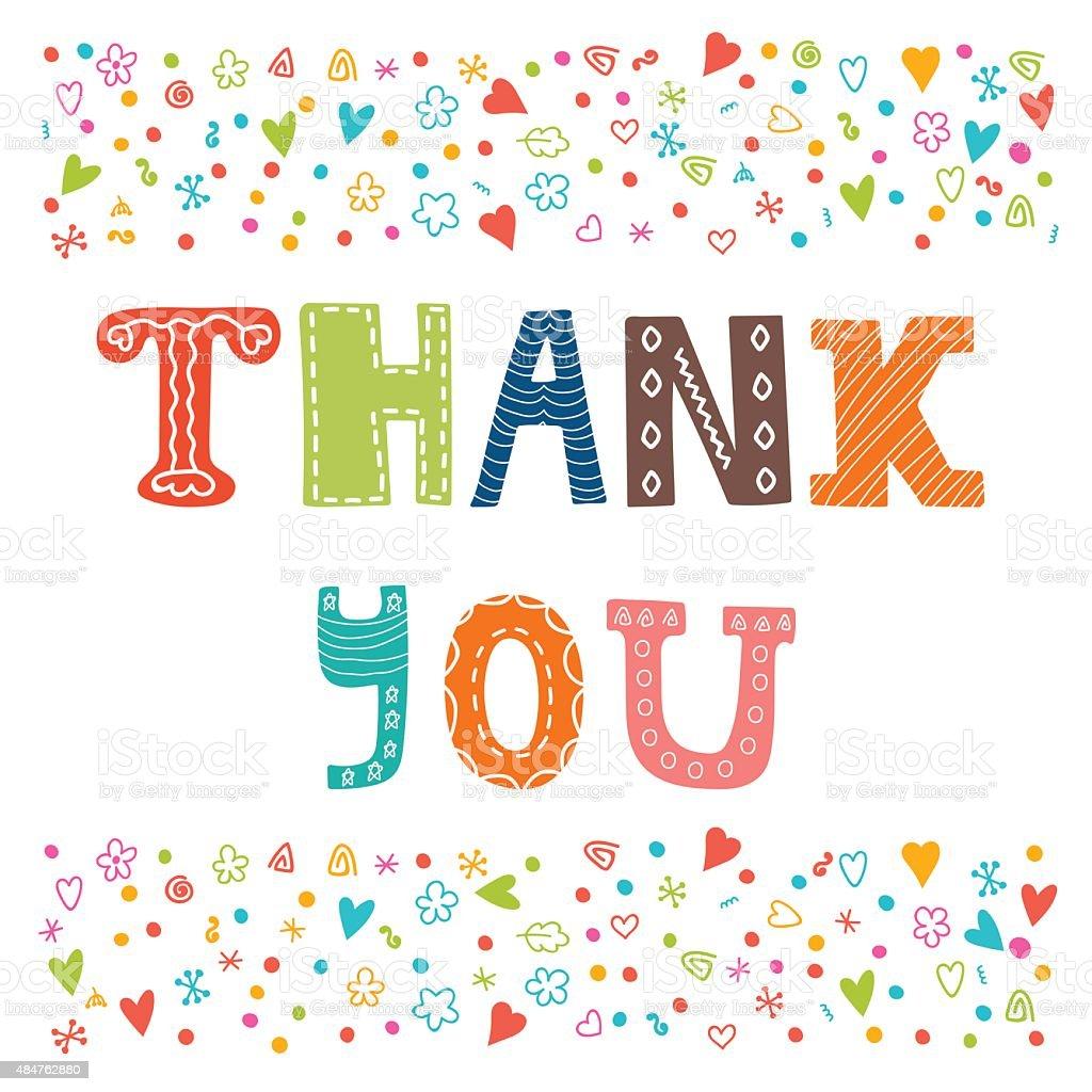 Thank You Card Design Cute Greeting Card Stock Vector Art More