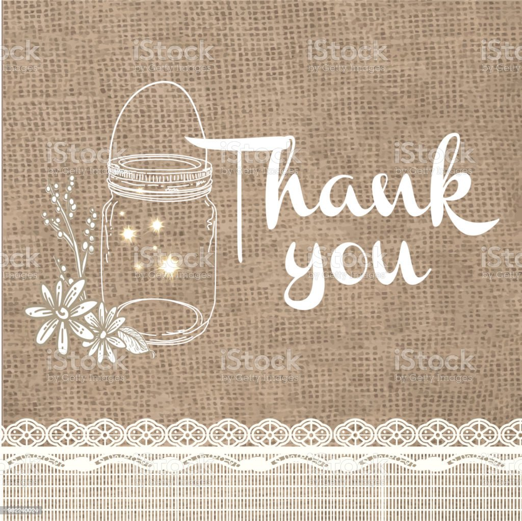 thank you card design invitation template with rustic
