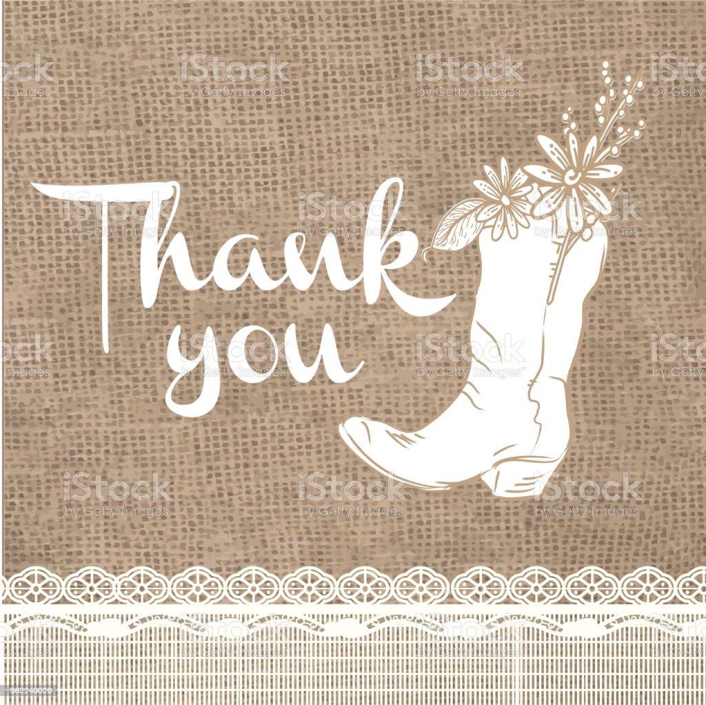 黄麻布の素朴な背景ありがとうございますカード デザイン招待状の