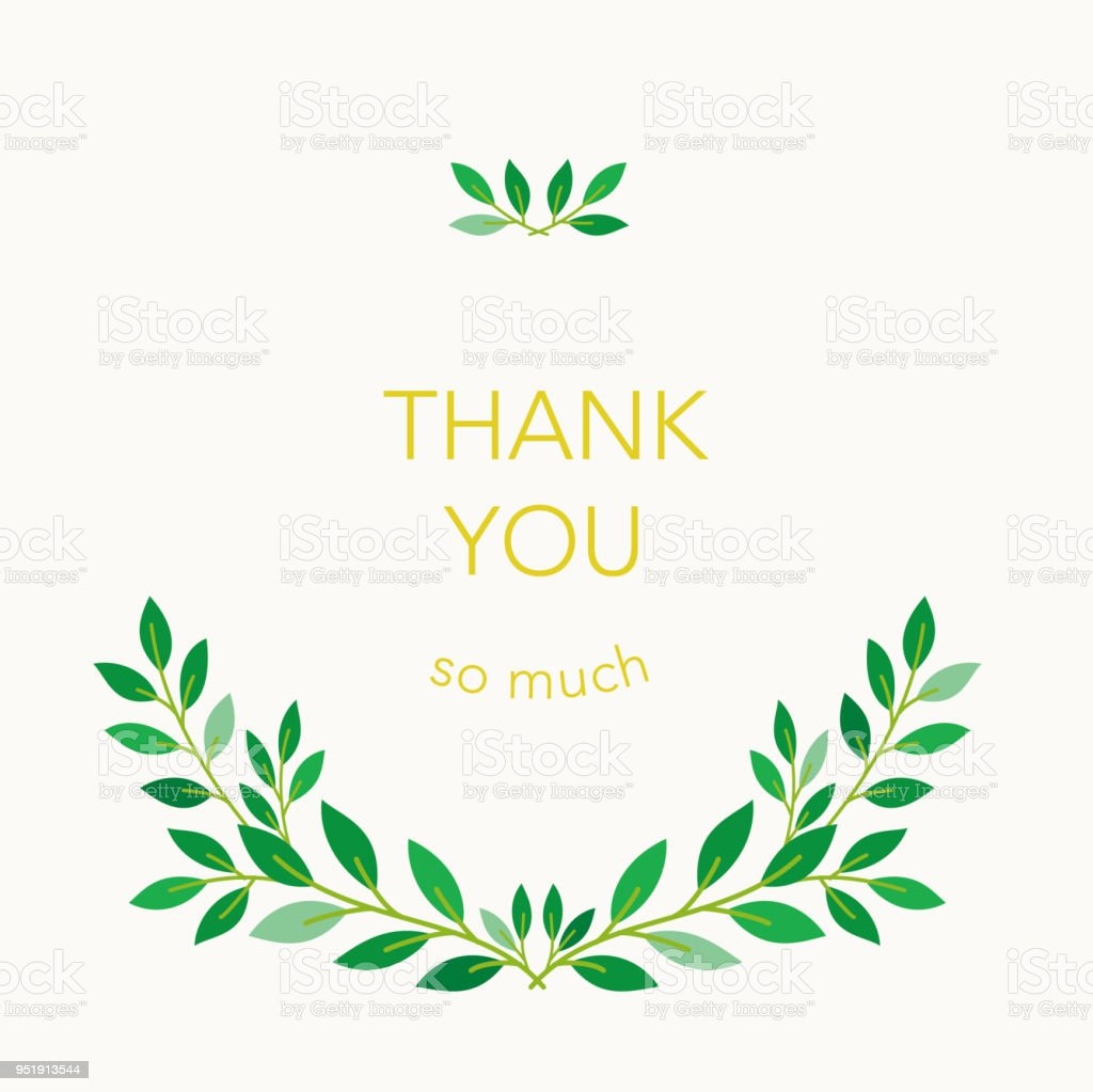 Thank You Card Design With Green Leaves Stock Vector Art More
