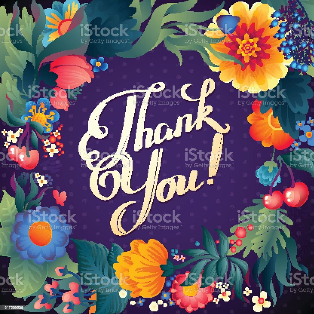 thank you card in bright colors stylish floral background