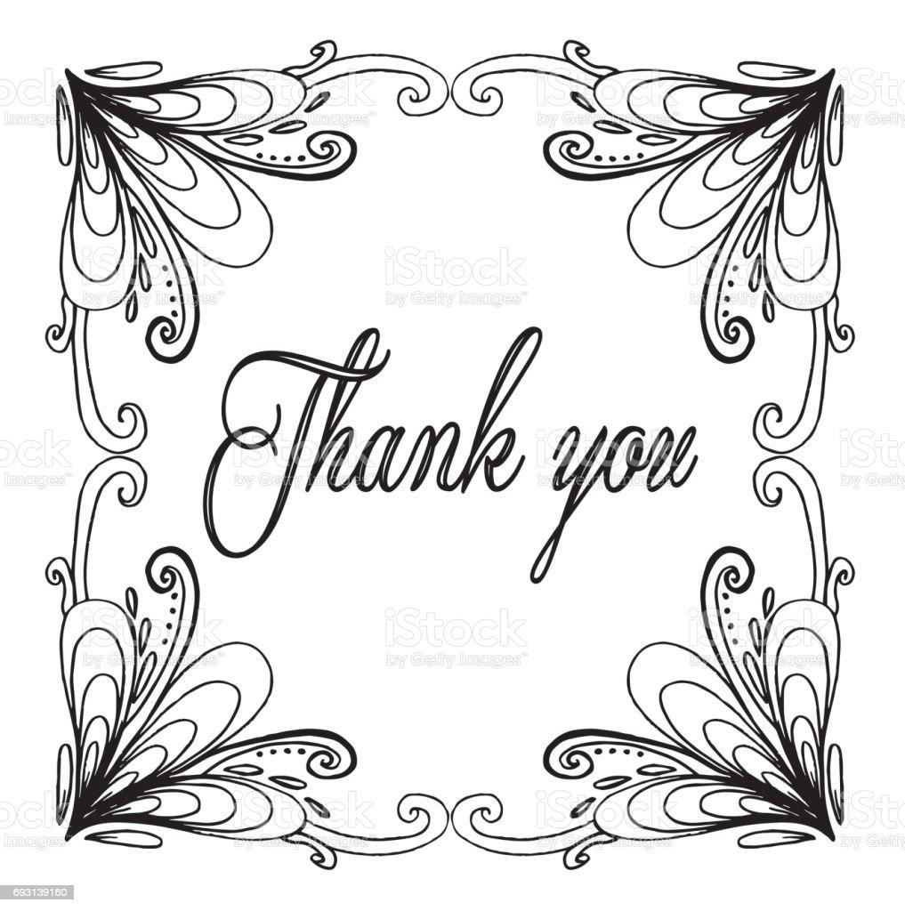 Bedankkaart Bedankt Vector Geisoleerd Hand Getrokken Illustratie Tekening Activiteit Inkt Enkelvoudige Bloem Tekst Dank U Stockvectorkunst En Meer Beelden Van Behangkwast Istock