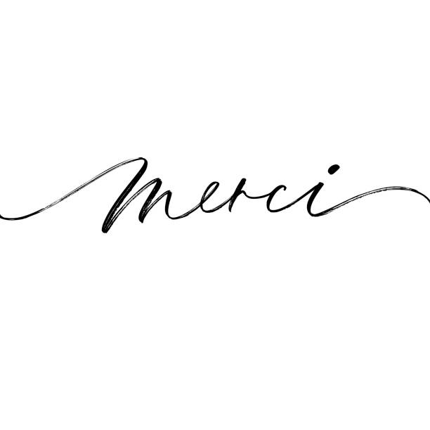 Thank you card. Merci phrase handwritten with a calligraphic brush. Thank you in French. Ink illustration. Modern brush calligraphy. Isolated on white background. french culture stock illustrations