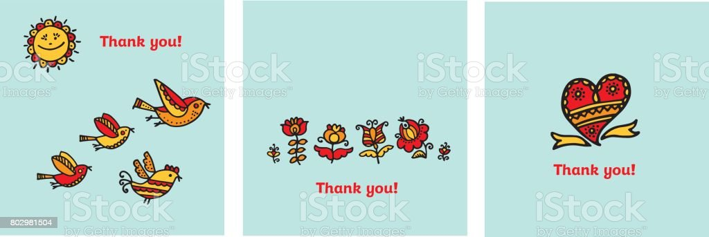 Thank you card vector illustration. Decorative naive flowers and...