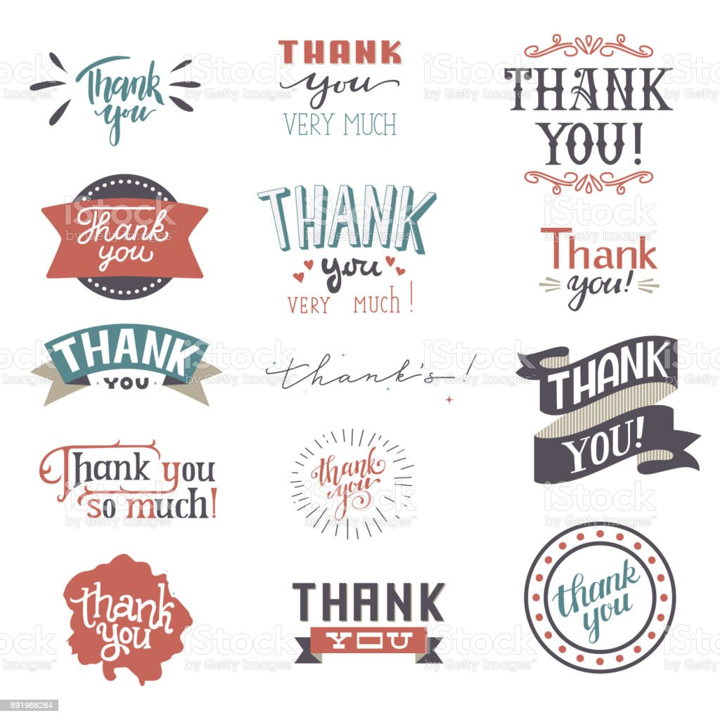 Thank You card vector set text thankful lettering typography letter sing thankfulness illustration isolated on white background vector art illustration