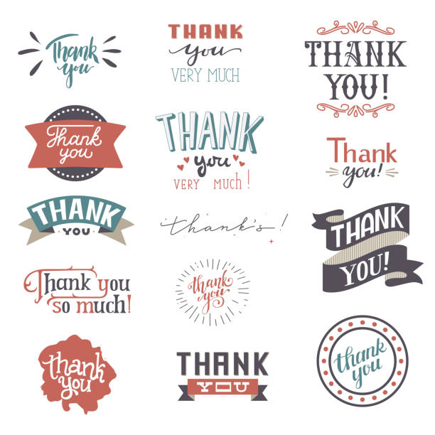 thank you card vector set text thankful lettering typography letter sing thankfulness illustration isolated on white background - thank you stock illustrations