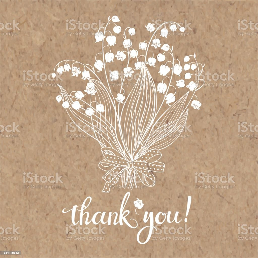 Thank you card with a bouquet of lilies of the valley. Floral vector illustration with handmade vector calligraphy on kraft paper. thank you card with a bouquet of lilies of the valley floral vector illustration with handmade vector calligraphy on kraft paper - immagini vettoriali stock e altre immagini di ambiente royalty-free