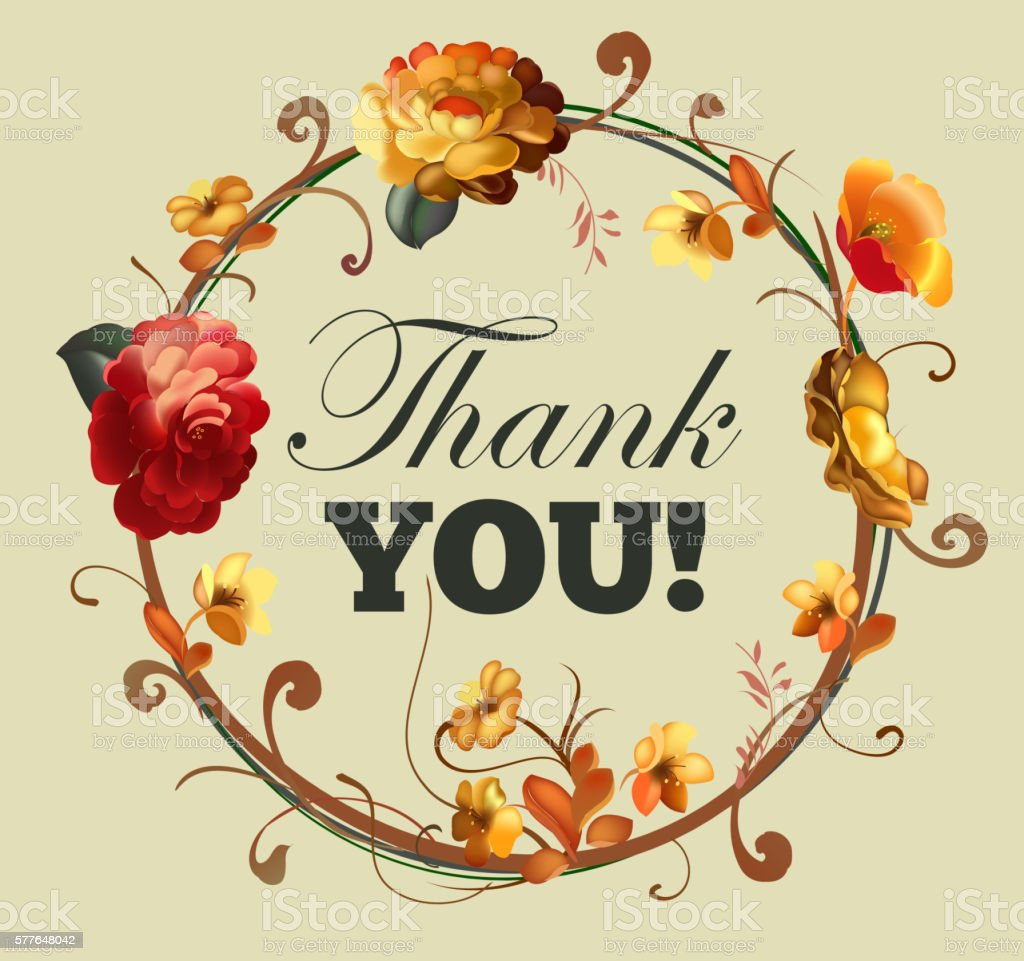 thank you card with beautiful vintage flowers stock