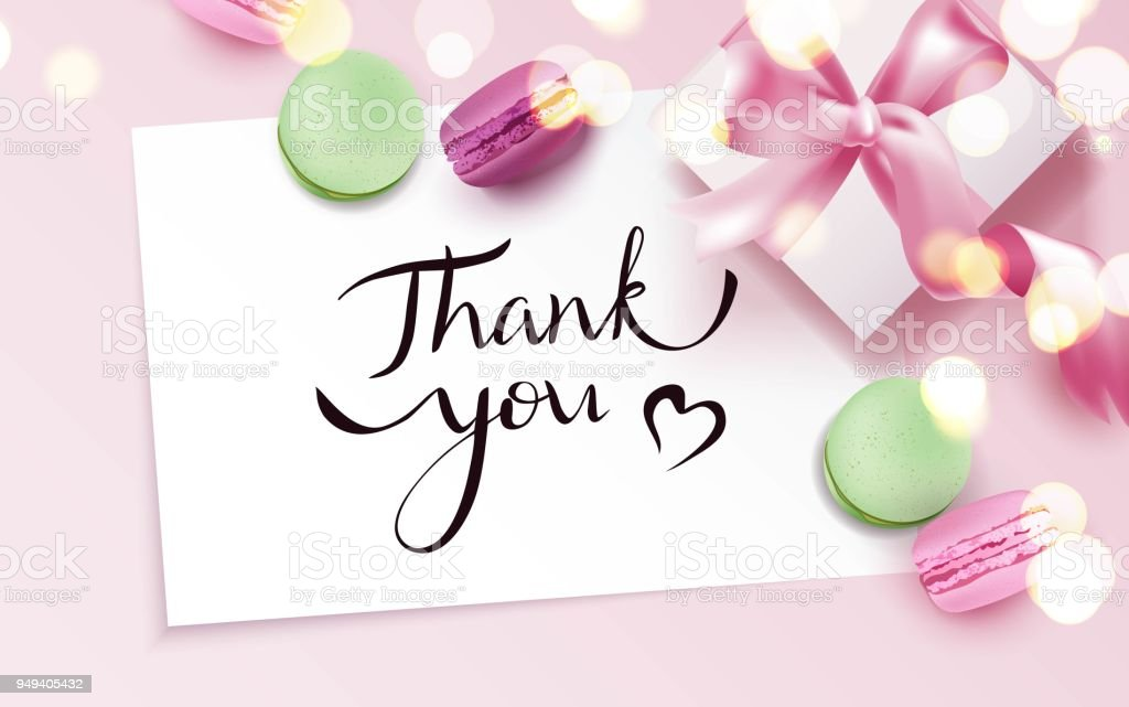 Thank you card with macarons and gift box vector art illustration
