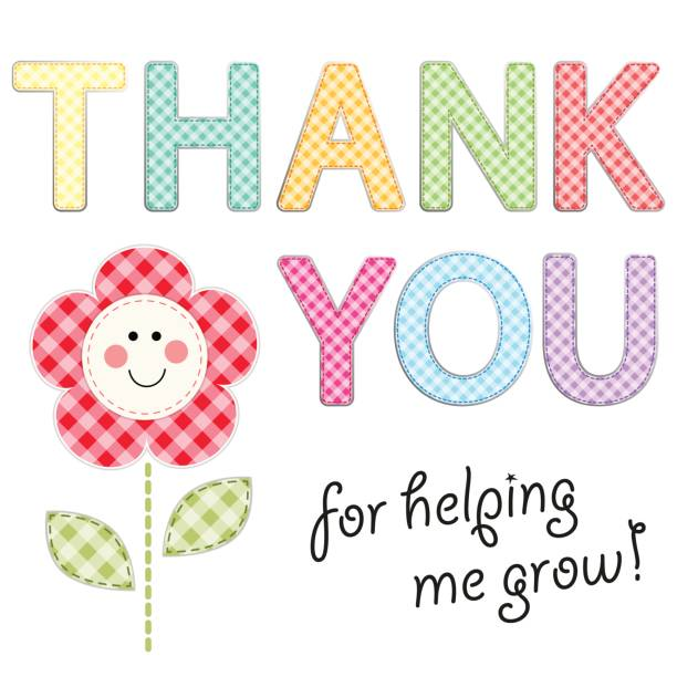 Thank You card with retro gingham fabric letters as festive garland Thank You card with retro gingham fabric letters as festive garland for your decoration thank you teacher stock illustrations