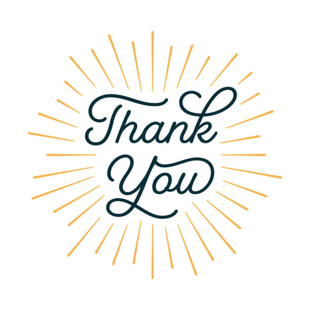 thank you card with sunburst - thank you stock illustrations