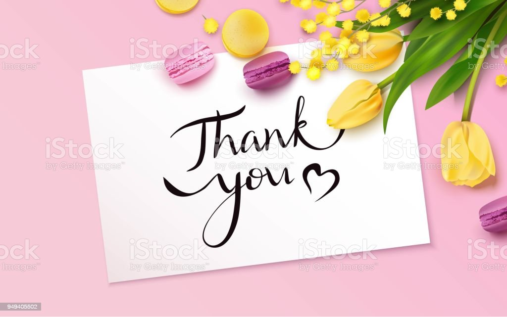 Thank you card with yellow tulips, mimosa branch and macarons vector art illustration