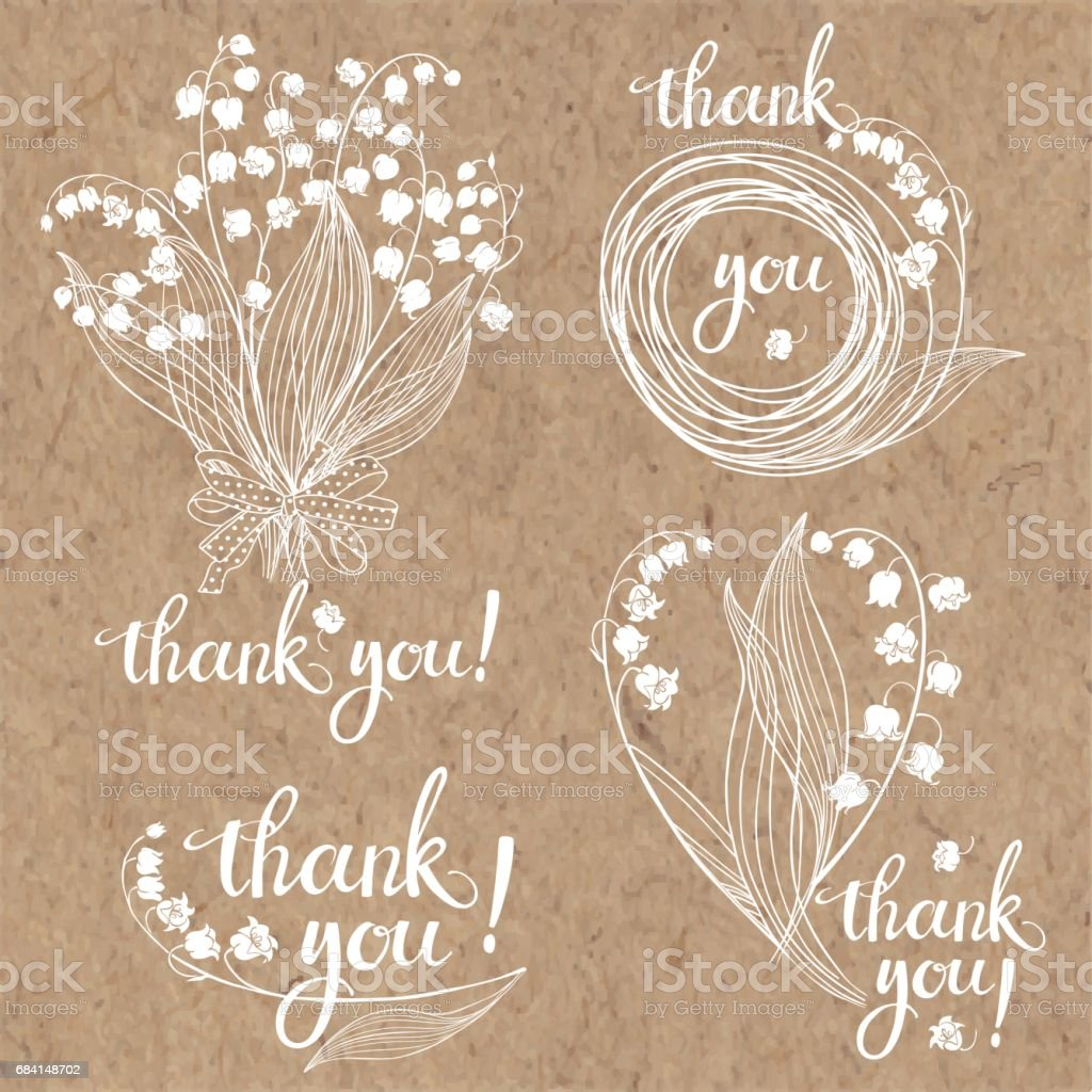 Thank you cards with lilies of the valley. Floral vector illustration with handmade vector calligraphy on kraft paper.  Four monochrome variations. thank you cards with lilies of the valley floral vector illustration with handmade vector calligraphy on kraft paper four monochrome variations - immagini vettoriali stock e altre immagini di ambiente royalty-free