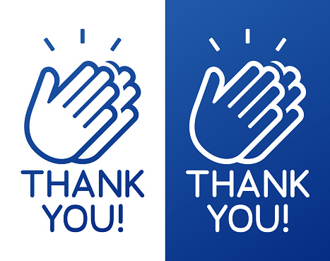 Thank you hands clapping celebration appreciation icon symbol.
