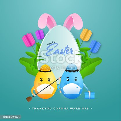 istock Thank You Corona Warriors Poster Design With Cartoon Eggs Wear Medical Mask, Bunny Ear And Paper Cut Tulip Flowers On The Occasion Of Happy Easter. 1303632672
