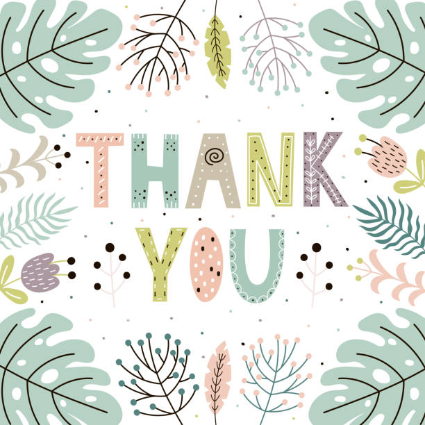 thank you cute card with hand drawn leaves and plants - thank you background stock illustrations