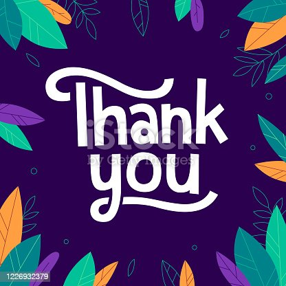 Thank you. Cute phrase with leaves and branches on the dark background. Great for gratitude cards, social media banners, posters.