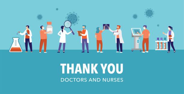 illustrations, cliparts, dessins animés et icônes de merci médecin et infirmière - concept pandémique covid-19, illustration vectorielle - medecin covid