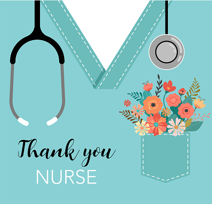 Thank you doctor and nurse - COVID-19 pandemic concept, vector illustration