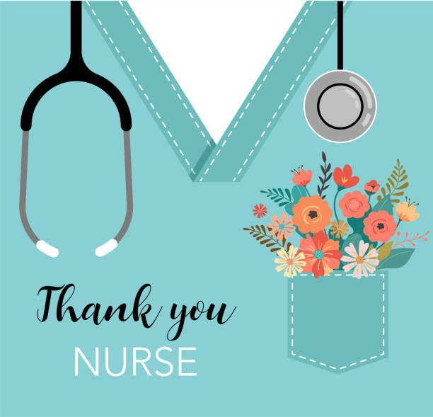 thank you doctor and nurse - covid-19 pandemic concept, vector illustration - nurses stock illustrations