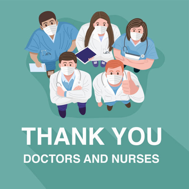 thank you doctors and nurses concept. top view of medical teams wearing masks and standing looking up at camera. vector - group of people stock illustrations