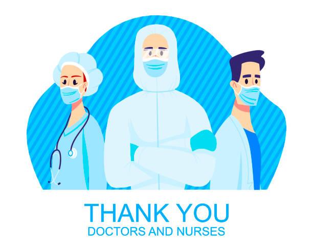 illustrations, cliparts, dessins animés et icônes de merci médecins et infirmières. frontliners, illustration des caractères portant des masques - aide soignant