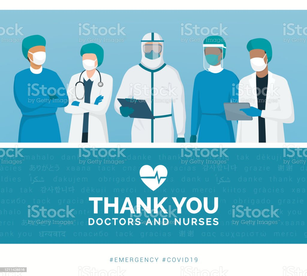 Thank you doctors and nurses - Векторная графика Covid-19 роялти-фри