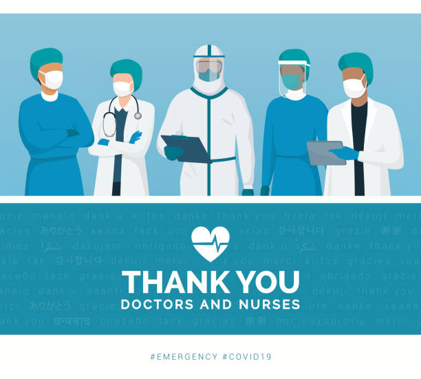 Thank you doctors and nurses Thank you doctors and nurses working in the hospitals and fighting the coronavirus, vector illustration protective workwear stock illustrations