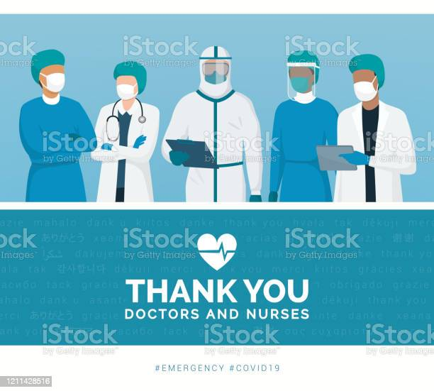 Thank You Doctors And Nurses — стоковая векторная графика и другие изображения на тему Covid-19