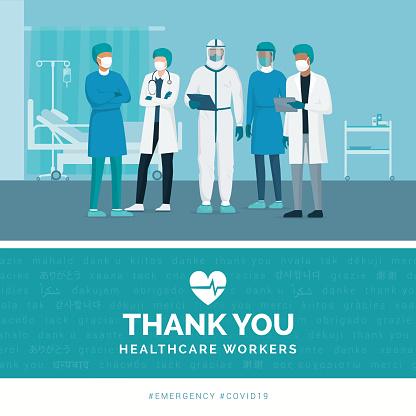 謝謝醫生和護士向量圖形及更多2019冠狀病毒病圖片
