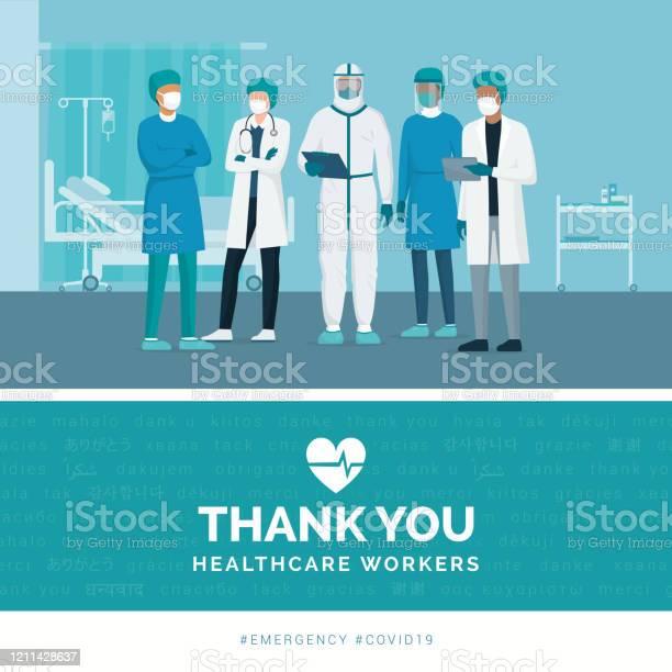 Спасибо Врачам И Медсестрам — стоковая векторная графика и другие изображения на тему Covid-19