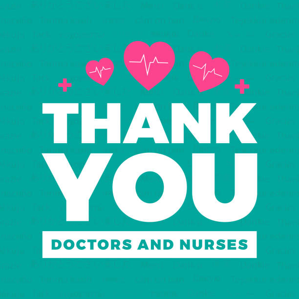 thank you doctors and nurses - thank you background stock illustrations