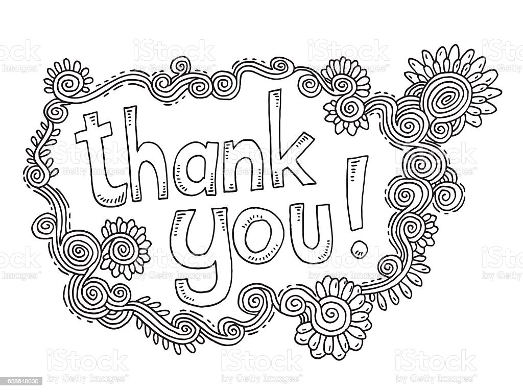 thank you doodle ornament flowers drawing stock