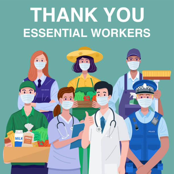 thank you essential workers concept. various occupations people wearing face masks. vector - essential workers stock illustrations
