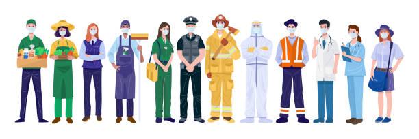 ilustrações, clipart, desenhos animados e ícones de obrigado essential workers concept. várias ocupações pessoas usando máscaras faciais. vetor - work